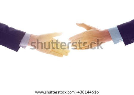 Business man make handshake in agreement, business concept in agreement handshaking, retro filter and vintage style with glow light.  - stock photo