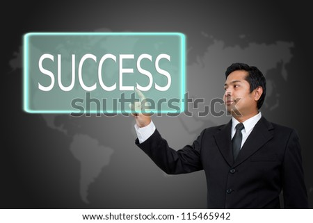 business man make success on touch screen - stock photo