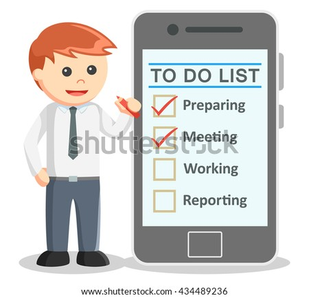 Business man making to do list from smartphone - stock photo