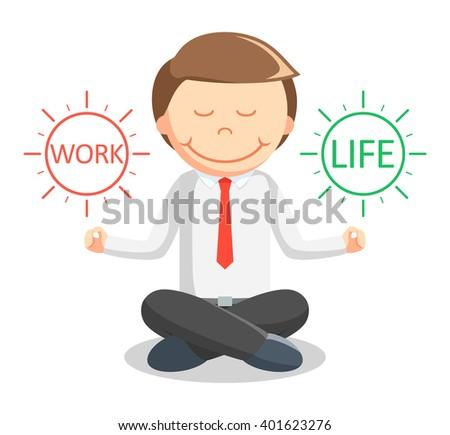 Business man meditating work life - stock photo