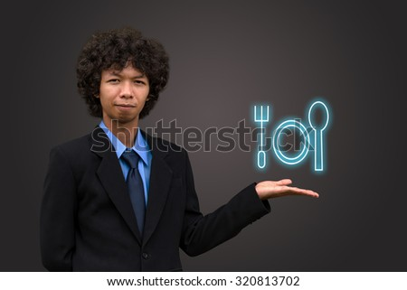 Business man model with icon. - stock photo