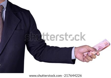 business man offer money in hand isolated on white background - stock photo