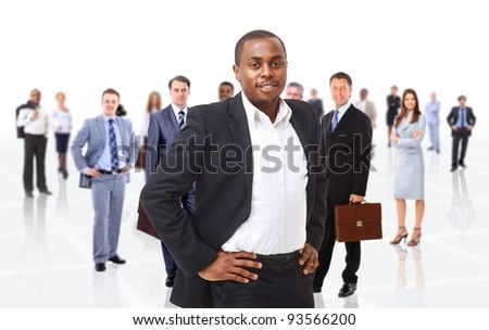 business man on a background of many people - stock photo