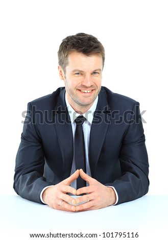 business man on a desk, isolated on white - stock photo