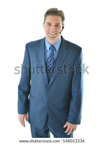 Business man on phone with client or presenting or customer service representative helping people