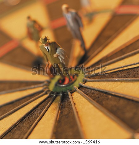 Business man on the mark. - stock photo