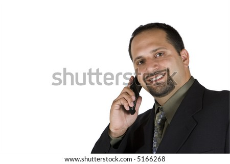 Business man on the phone smiling - isolated over a white background - stock photo