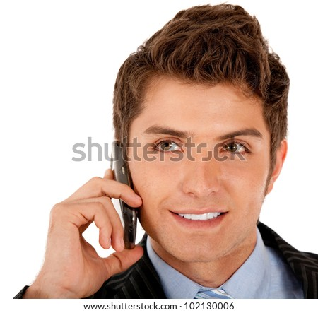 Business man on the phone taking a call ���� isolated over a white