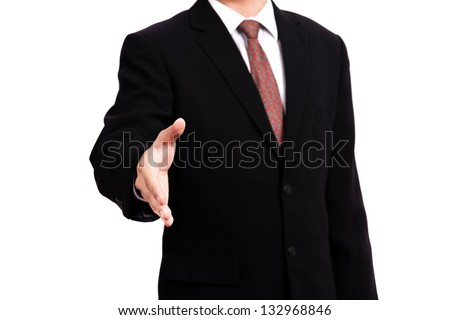 business man open hand ready to seal a deal - stock photo