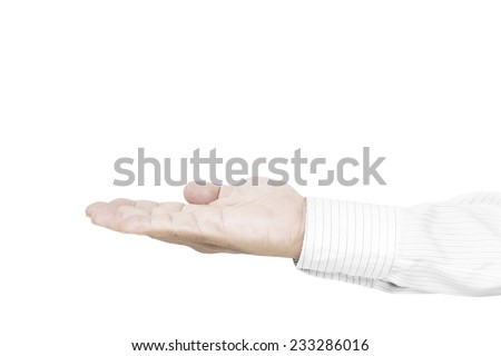Business man open palm hand gesture. Isolated on white background. - stock photo