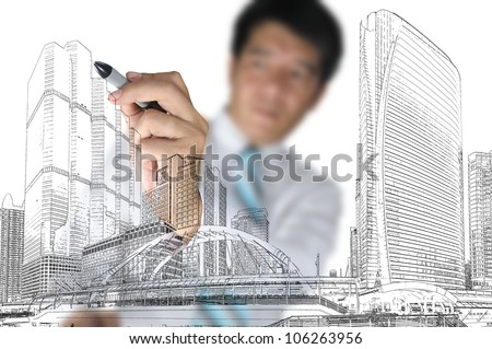 Business Man or Architect draw cityscape - stock photo