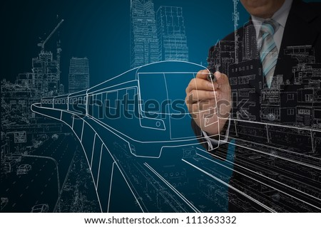 Business Man or architect drawing train or transportation - stock photo