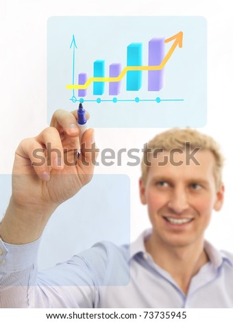 business man painting earnings schedule on a transparent touchscreen with his marker