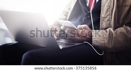 Business Man Phone Checking Mail Concept