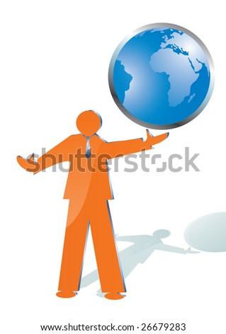 business man playing with world globe, illustration