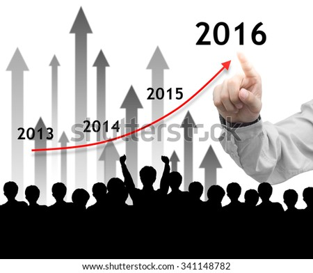 Business man point a growth graph to 2016 on white background