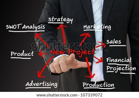 Business man point new project chart - stock photo