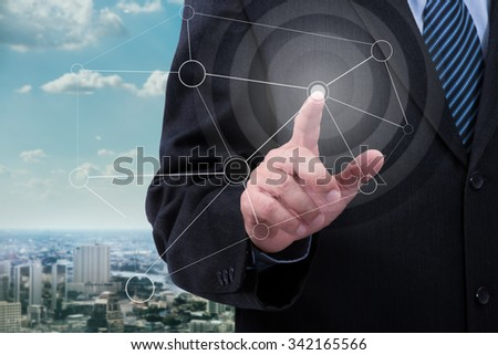 Business man point the drawing destination map - stock photo