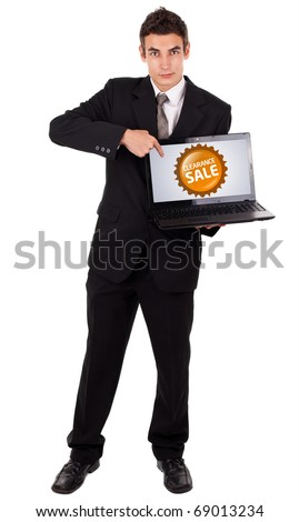 Business man pointing at a colorful sale label 2, isolated on white
