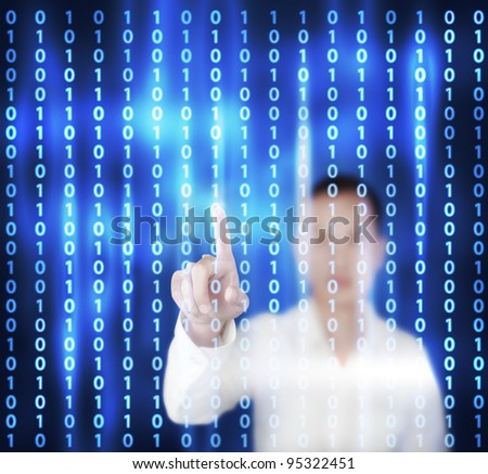 business man pointing at binary digital touchscreen - stock photo