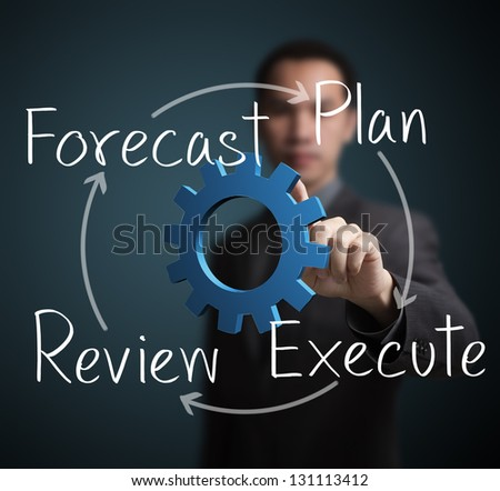 business man pointing at diagram of business improvement circle - stock photo
