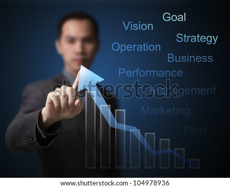 business man pointing at growth graph and business concept - stock photo