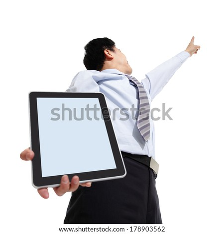 Business man pointing copy space with touch pad isolated on white background, asian - stock photo
