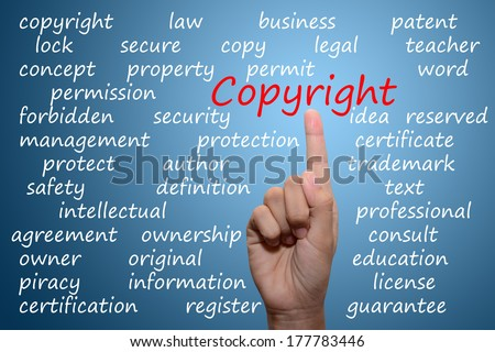 business man pointing copyright concept