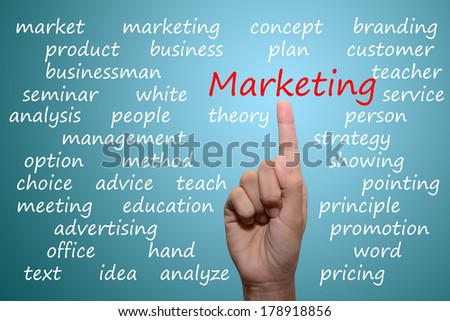 business man pointing marketing concept