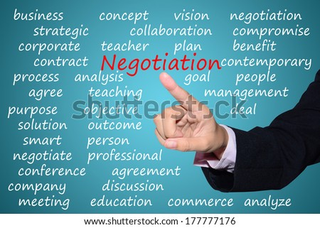business man pointing negotiation concept