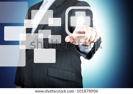 Business man pointing on the medical sign. Concept for health awareness - stock photo