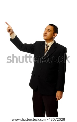 Business man pointing something isolated on white background - stock photo