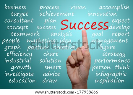 business man pointing success concept