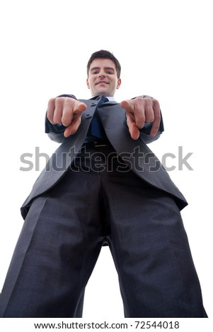 business man pointing to camera, isolated over white background, view from below - stock photo