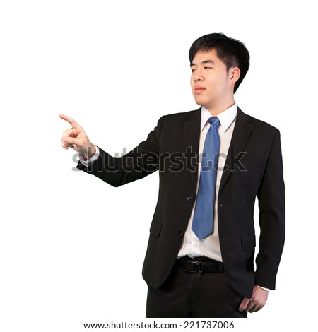 Business man pointing to something or touching something isolated on white background (with clipping path)