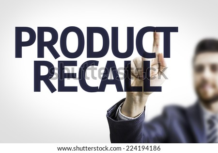 Business man pointing to transparent board with text: Product Recall - stock photo