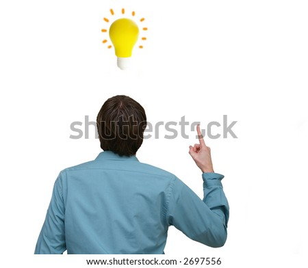 Business man pointing up to a lightbulb idea - stock photo