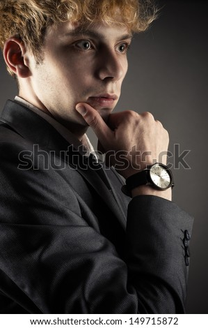 business man portrait during thinking - stock photo