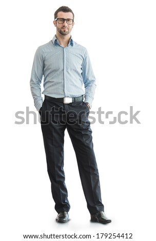 Business man posing on white isolated - stock photo