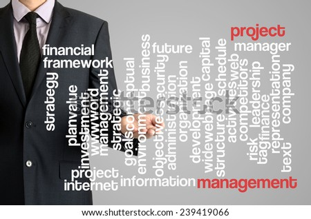 Business man presenting wordcloud related to project management on virtual screen - stock photo