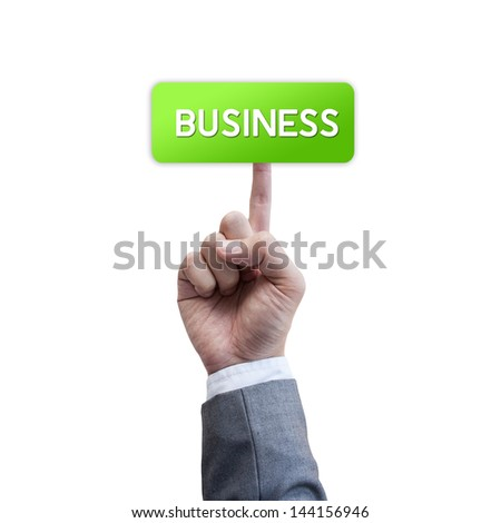 Business man press button isolated on white background
