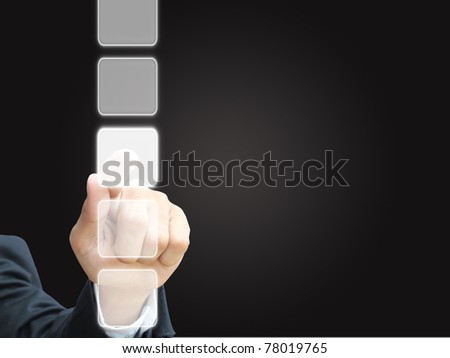 Business man press choice - stock photo