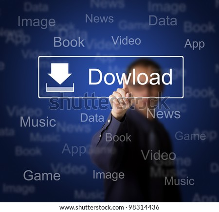 business man pressing download button on touch screen to obtain data from internet - stock photo