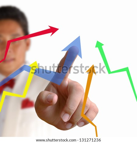 Business man pressing the arrow on the white background
