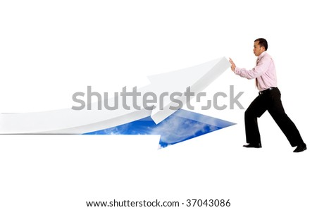Business man pushing an arrow upwards isolated on white