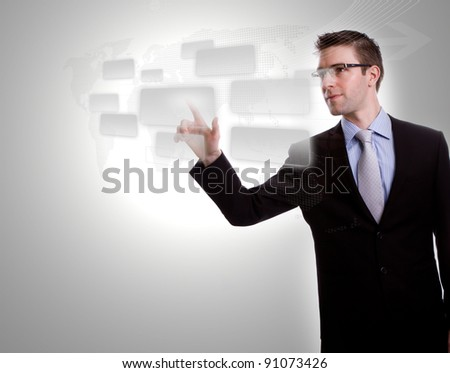 Business man pushing button streaming on a touch screen interface - stock photo