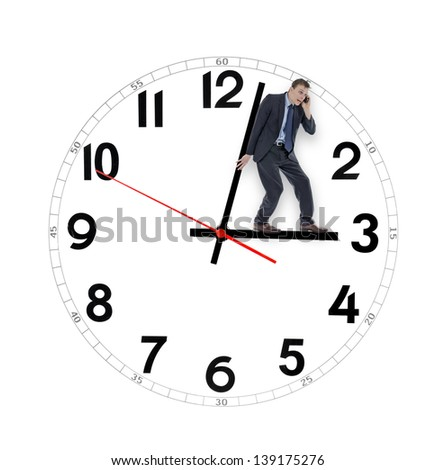 Business man pushing clock running out of time - stock photo