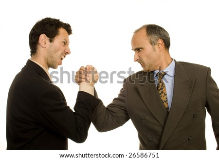 Business man pushing fight white isolate - stock photo