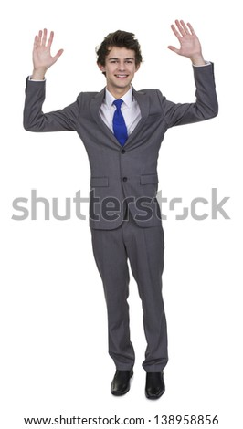 Business Man Raises Up Hand Isolated Over White Background