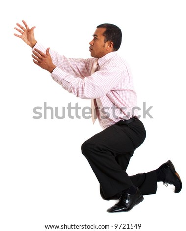 business man reaching out for something isolated over a white background